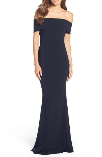 Katie May Legacy Crepe Body-Con Gown, Blue
