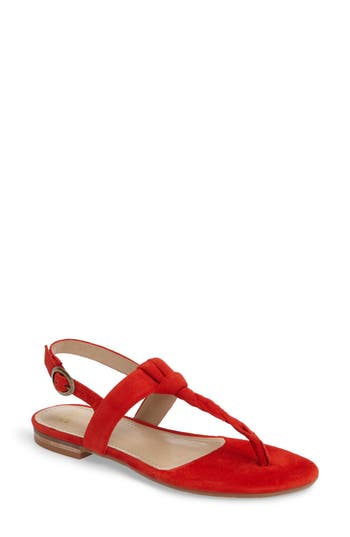 Johnston & Murphy Holly Twisted T-Strap Sandal, Red