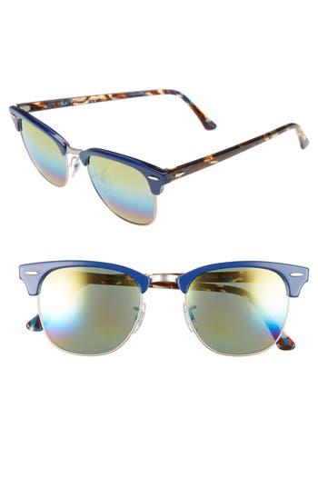 Ray-Ban Standard Clubmaster 51Mm Mirrored Rainbow Sunglasses - Blue Rainbow