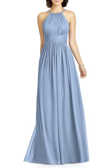 Dessy Collection Lux Chiffon Halter Gown, Blue