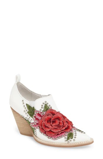 Jeffrey Campbell Roseola Studded Applique Bootie, White