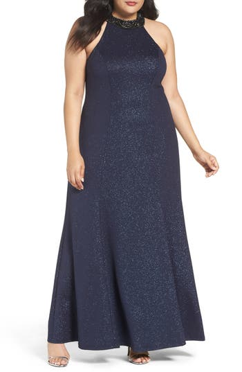 Plus Size Marina Embellished Halter Gown