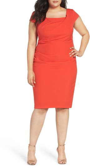 Plus Size Adrianna Papell Draped Square Neck Sheath Dress, Red