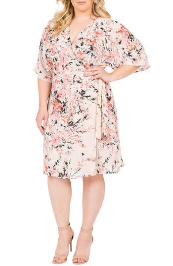 Plus Size Women's Standards & Practices Candice Georgette Wrap Dress, Size 1X - Orange