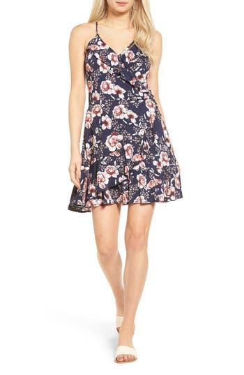 Women's Love, Fire Ruffle Faux Wrap Dress, Size Small - Blue