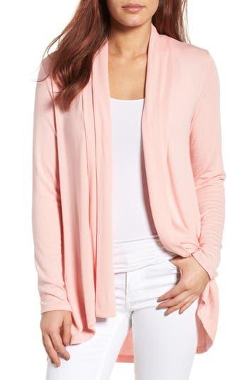 Women's Bobeau High/low Jersey Cardigan, Size Large - Pink