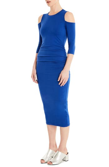 Michael Stars Cold Shoulder Midi Dress, Blue