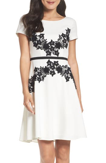 Adrianna Papell Crepe Fit & Flare Dress