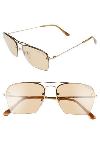 Women's Tom Ford Walker 57Mm Semi Rimless Square Sunglasses - Rose Gold/ Brown
