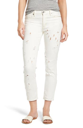 Hudson Jeans Zoeey Destroyed Crop Straight Leg Jeans, White