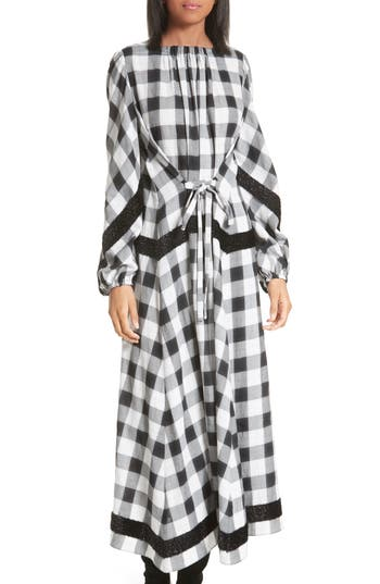 Tibi Boucle Trim Plaid Maxi Dress, Black