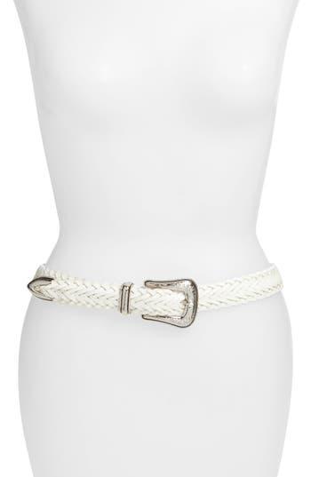 Rebecca Minkoff Braided Leather Belt, Optic White