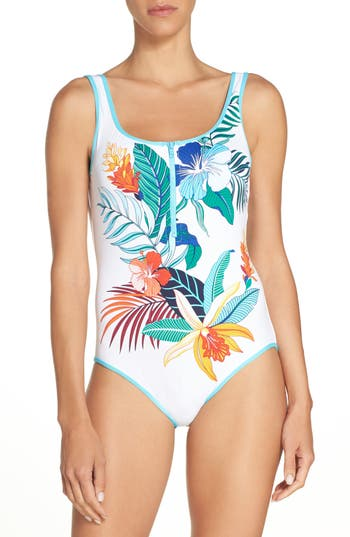 Tommy Bahama Hibiscus Print One-Piece Swimsuit