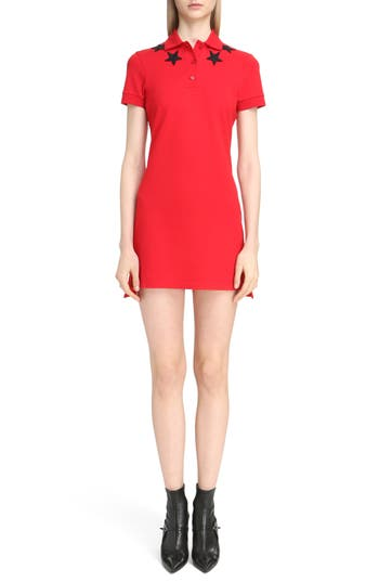 Givenchy Star Embellished Polo Dress, 8 FR - Red