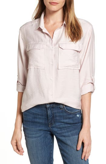 Two By Vince Camuto Rumple Roll Sleeve Shirt