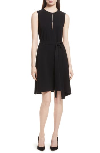 Theory Desza Belted Admiral Crepe Fit & Flare Dress, Black