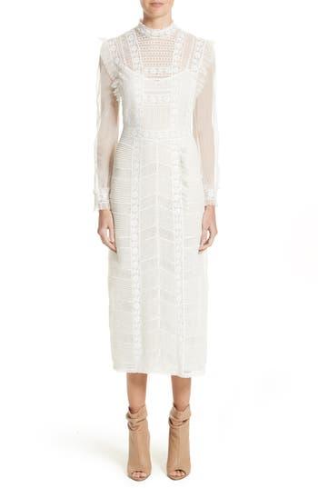 Burberry Chanella Lace Midi Dress, White