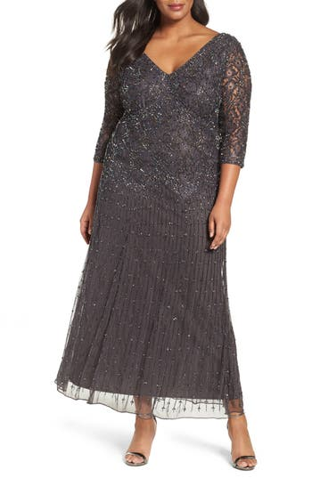 Plus Size Pisarro Nights Beaded V-Neck Lace Illusion Gown, Grey