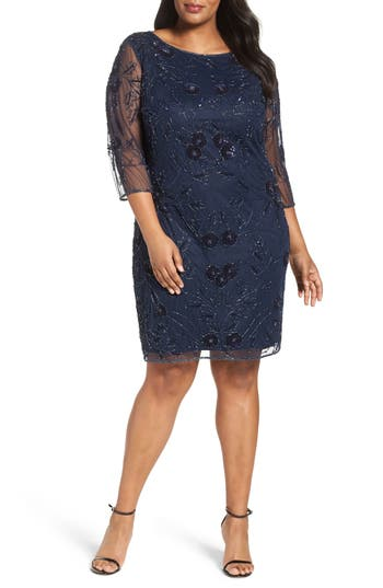 Plus Size Pisarro Nights Embroidered Cocktail Dress, Blue