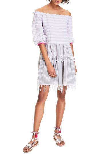 Women's Lemlem Anana Off The Shoulder Cover-Up Dress, Size Medium - White