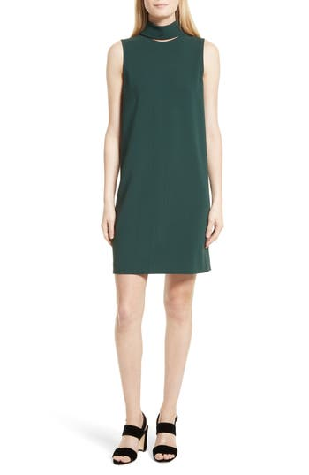 Theory Admiral Crepe Slit Collar Sheath Dress, Green