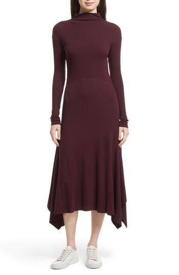 Theory Ribbed Sweater Dress, Size Petite - Burgundy