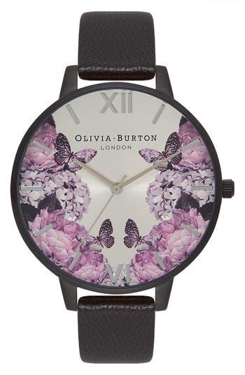 Women's Olivia Burton After Dark Leather Strap Watch, 38Mm