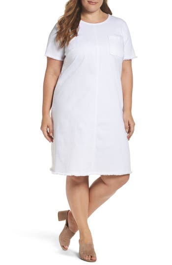 Plus Size Two By Vince Camuto Frayed Denim Shift Dress, White