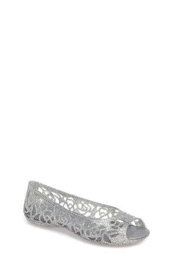 Girl's Crocs(TM) Isabella Glitter Flat, Size 5 M - Metallic