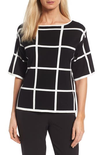 Vince Camuto Windowpane Sweater, Black