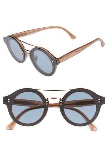 Jimmy Choo Monties Round Sunglasses - Nude/ Glitter/ Gold
