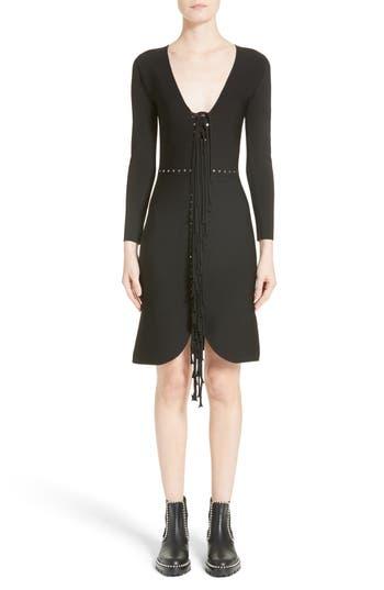 Alexander Wang Knotted Fringe Knit Dress, Black
