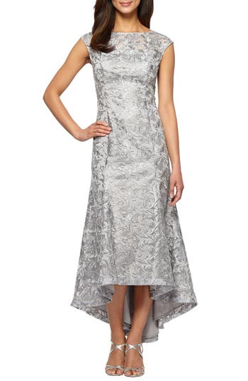 Alex Evenings High/low Lace Dress, Metallic