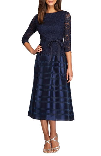 Women's Alex Evenings Mixed Media Fit & Flare Dress