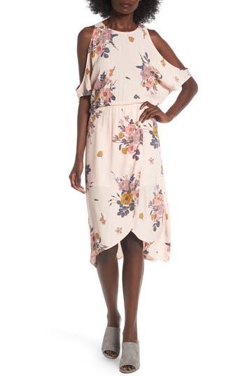 Leith Cold Shoulder Midi Dress, Pink