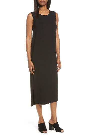 Eileen Fisher Round Neck Calf Length Jersey Dress