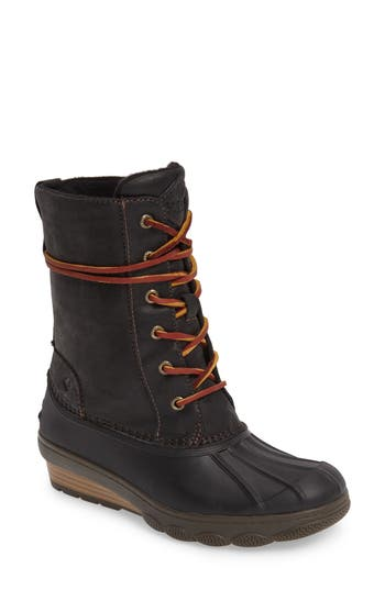 Sperry Saltwater Wedge Reeve Waterproof Boot, Black