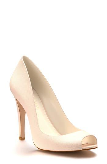 Shoes Of Prey Peep Toe Pump, Beige