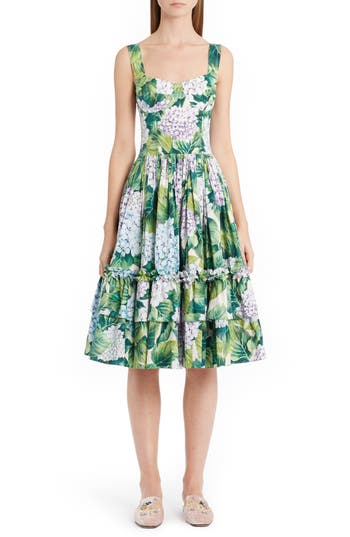 Dolce & gabbana Hydrangea Print Fit & Flare Dress, US / 46 IT - Green