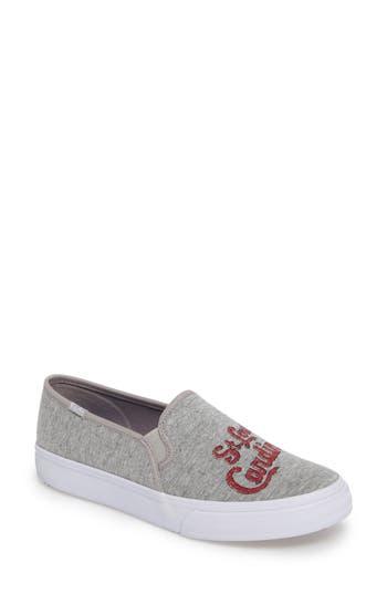 Keds Double Decker Baseball Team Jersey Slip-On Sneakers, Grey