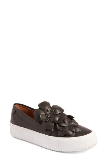 See By Chloe Vera Floral Applique Slip-On Sneaker, Black