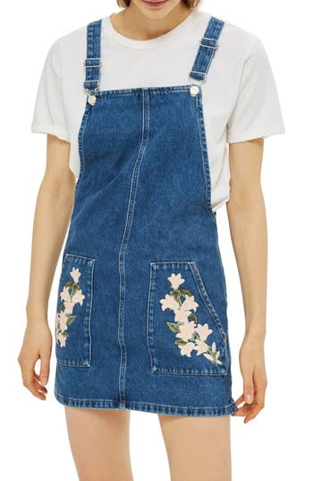 Topshop Tulip Embroidered Denim Pinafore Dress, US (fits like 10-12) - Blue
