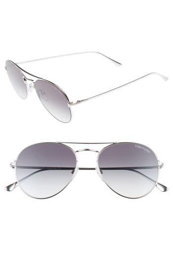 Women's Tom Ford Ace 55Mm Stainless Steel Aviator Sunglasses - Shiny Rhodium/ Blue Mirror