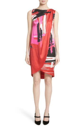 St. John Collection Brushstroke Print Stretch Silk Dress