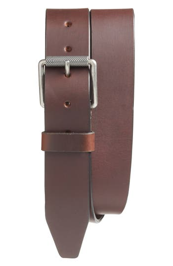 Big & Tall 1901 Roller Buckle Leather Belt, Brown
