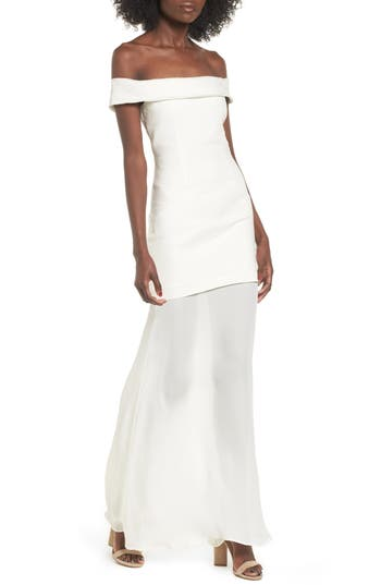 Stone Cold Fox Fairview Off The Shoulder Gown, White