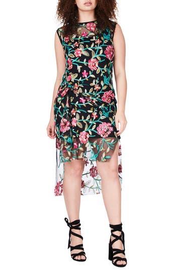 Plus Size Elvi Embroidered Mesh High/low Dress, W US / 14 UK - Black