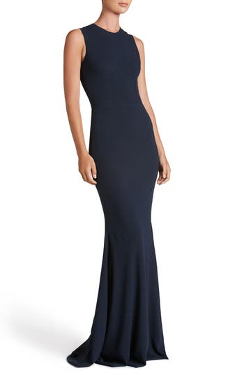 Dress The Population Eve Crepe Mermaid Gown, Blue