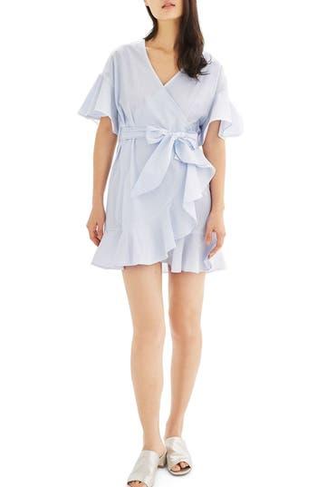 Women's Topshop Stripe Ruffle Wrap Dress