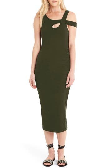 Michael Stars Crossover Strap Midi Dress, Green